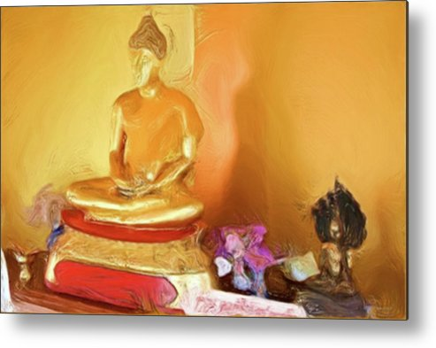 Buddhism Metal Print featuring the painting Meditation Room Buddha by Bates Clark