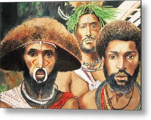 Men From New Guinea Metal Print featuring the painting Men From New Guinea by Judy Swerlick