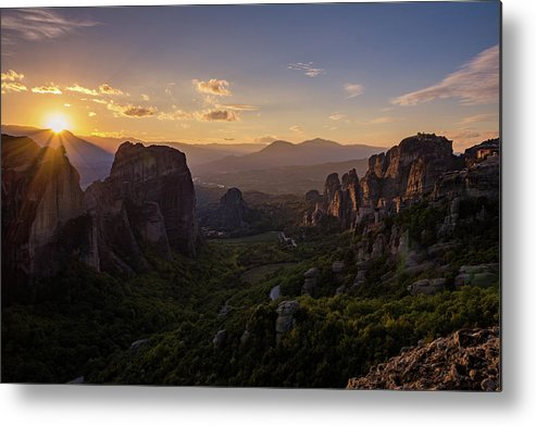 Landscape Metal Print featuring the photograph Meteora Sunset by Nikos Stavrakas