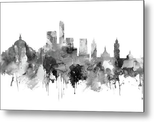 Mexico Metal Print featuring the painting Mexico City Skyline by Dim Dom