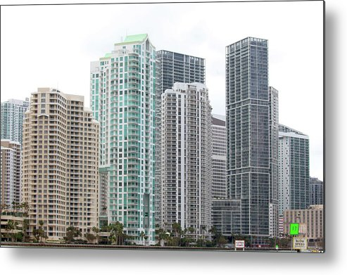 Miami Metal Print featuring the photograph Miami Highrises by Art Block Collections