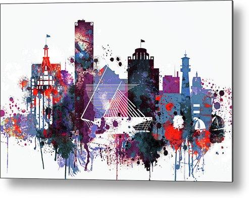 Milwaukee Print Metal Print featuring the painting Milwaukee Watercolor Skyline by Dim Dom