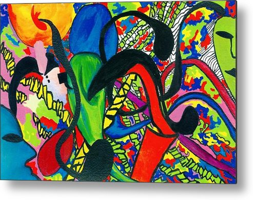 Abstract Metal Print featuring the painting Mindwars by Katina Cote