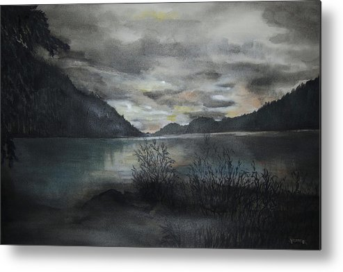 Sunset Metal Print featuring the painting Missezula Lake Sunset by Susan Moore