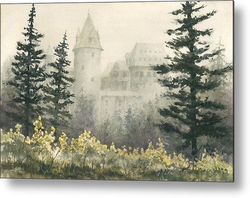 Castle Metal Print featuring the painting Misty Morning by Sam Sidders