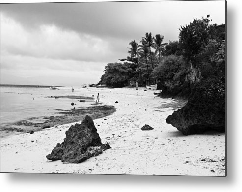 Beach Metal Print featuring the photograph Moalboal Cebu White Sand Beach In Black And White by James BO Insogna