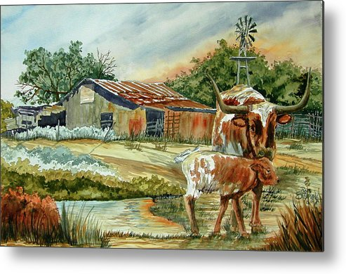 Longhorns Metal Print featuring the painting Momma Longhorn And Calf by Ron Stephens