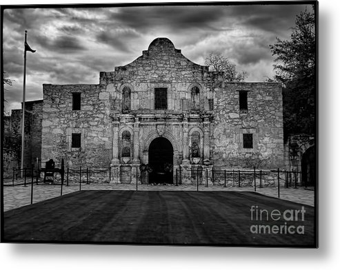 Moody Morning At The Alamo Bw Metal Print featuring the photograph Moody Morning At The Alamo Bw by Jemmy Archer
