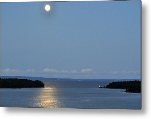 Moon Metal Print featuring the photograph Moon Over Lighthouse by Donald Mac Fadyen