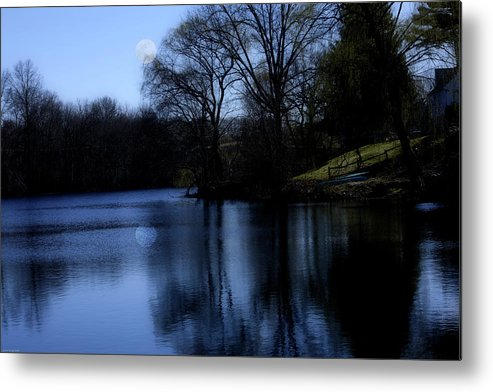 Moon Metal Print featuring the digital art Moon Over The Charles by Edward Cardini