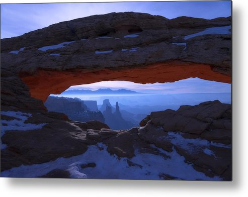 Moonlit Mesa Metal Print featuring the photograph Moonlit Mesa by Chad Dutson