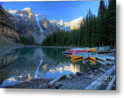 Autumn Metal Print featuring the photograph Moraine Lake Sunrise Blue Skies Canoes by Wayne Moran