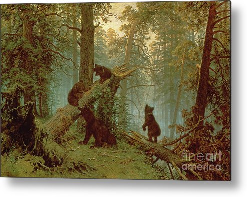 Morning Metal Print featuring the painting Morning In A Pine Forest by Ivan Ivanovich Shishkin