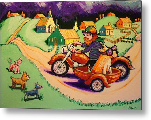 Metal Print featuring the painting Motocycle Mike by Robert Tarr