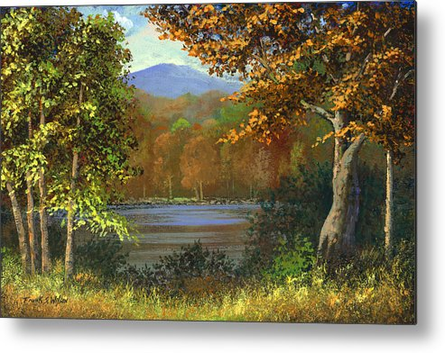 Landscape Metal Print featuring the painting Mountain Pond by Frank Wilson
