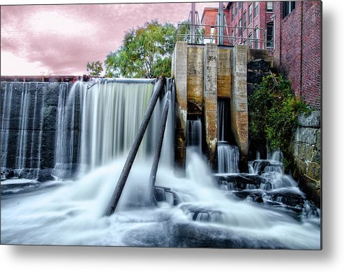 Mousam Metal Print featuring the photograph Mousam River Waterfall In Kennebunk Maine by Bill Cannon