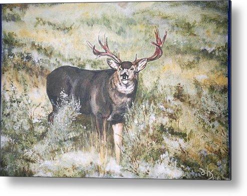 Mule Deer Metal Print featuring the painting Muley by Debra Sandstrom