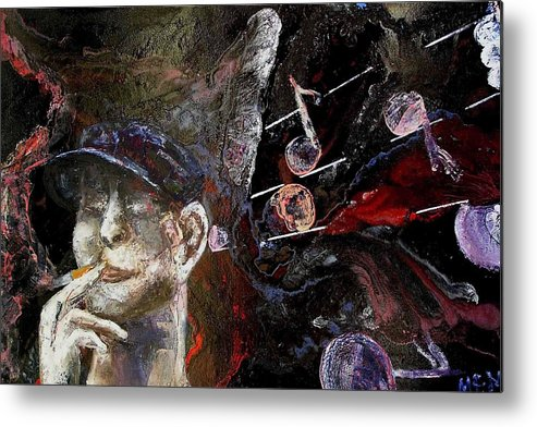 Metal Print featuring the painting Musician by Evguenia Men