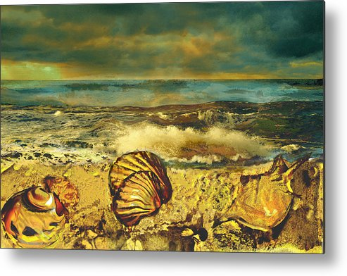 Mussels Metal Print featuring the painting Mussels On The Beach by Anne Weirich