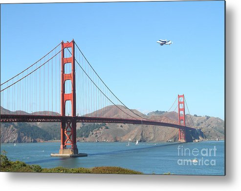 San Francisco Metal Print featuring the photograph Nasa Space Shuttle's Final Hurrah Over The San Francisco Golden Gate Bridge by Wingsdomain Art and Photography