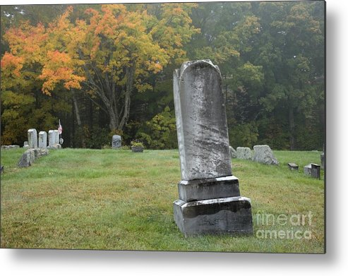 Graveyard Metal Print featuring the photograph New England Graveyard During The Autumn by Erin Paul Donovan