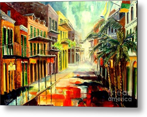 New Orleans Metal Print featuring the painting New Orleans Summer Rain by Diane Millsap