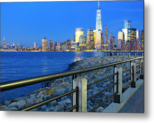 New Metal Print featuring the photograph New York City Skyline From Liberty State Park In Jersey City New Jersey #3 by Andrew Davis