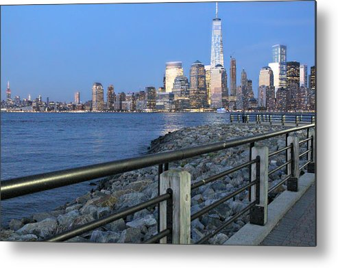New Metal Print featuring the photograph New York City Skyline From Liberty State Park In Jersey City New Jersey #4 by Andrew Davis