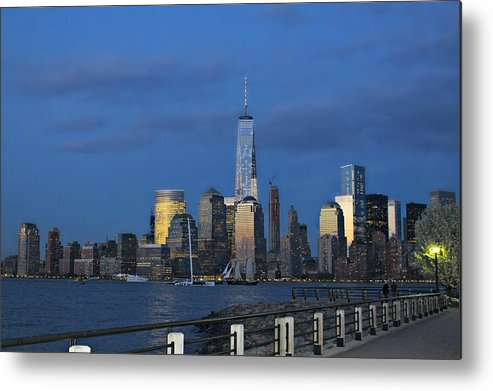 New Metal Print featuring the photograph New York City Skyline From Liberty State Park In Jersey City New Jersey by Andrew Davis