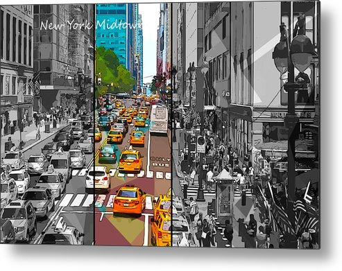 New York Metal Print featuring the digital art New York Midtown 123 by Victor Arriaga