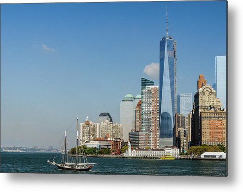 New York Metal Print featuring the photograph New York Skyline And Sailboat by Chris Augliera