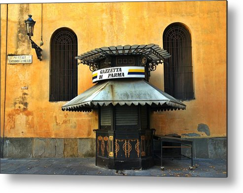 Architecture Metal Print featuring the photograph Newsstand - Parma - Italy by Silvia Ganora