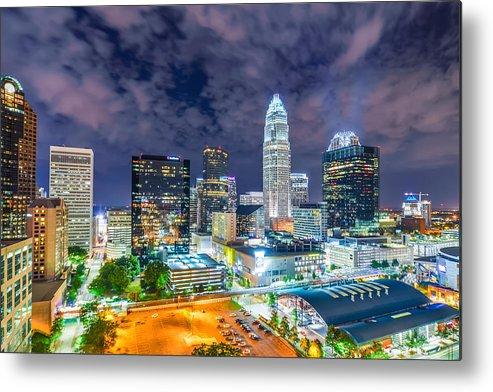 North Metal Print featuring the photograph Night View Scenes Around Charlotte North Carolina by Alex Grichenko