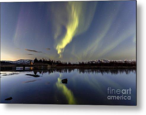 Northern Lights Metal Print featuring the photograph Northern Lights Thingvellir by Gunnar Orn Arnason