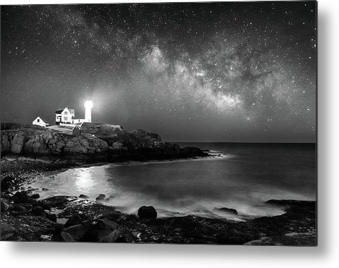 Nubble Metal Print featuring the photograph Nubble At Night by Jatinkumar Thakkar