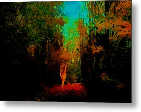 Metal Print featuring the photograph Nude In The Forest by Jeff Burgess