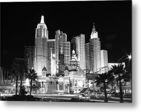 Vegas Metal Print featuring the photograph Ny Ny In Bw by Rich Tanguay
