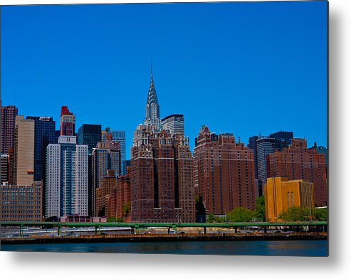 Building Color River Nyc Skyline Landscape Cityscape east River Manhattan chrysler Building Chrysler Metal Print featuring the photograph Nyc Chrysler Building by Arthur Sa