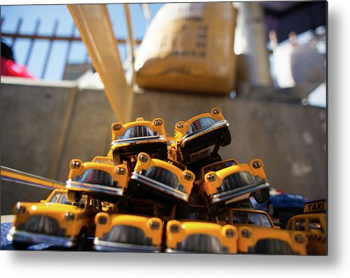 Taxi Metal Print featuring the photograph Nyc Taxi by Agnes Czekman