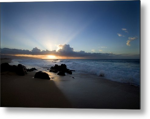 Ocean Metal Print featuring the photograph Oahu Sunset by Brad Rickerby