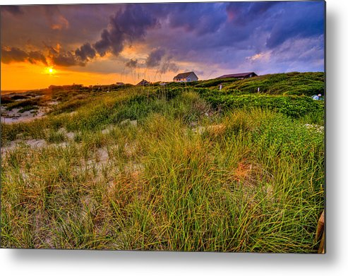 Sun Metal Print featuring the photograph Oak Island Sunset by Ches Black