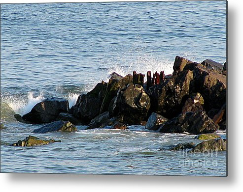 Ocean Metal Print featuring the photograph Ocean Jetties by Colleen Kammerer