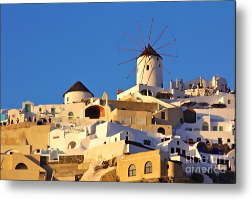 Santorini Metal Print featuring the photograph Oia Windmill by Jeremy Hayden