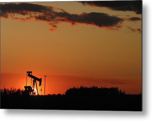 Oil Metal Print featuring the photograph Oil Pump Jack 5 by Jack Dagley
