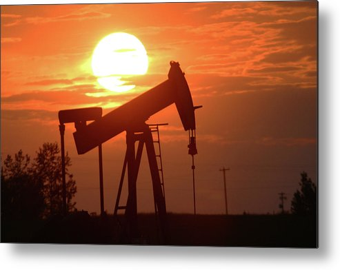 Oil Metal Print featuring the photograph Oil Pump Jack 8 by Jack Dagley