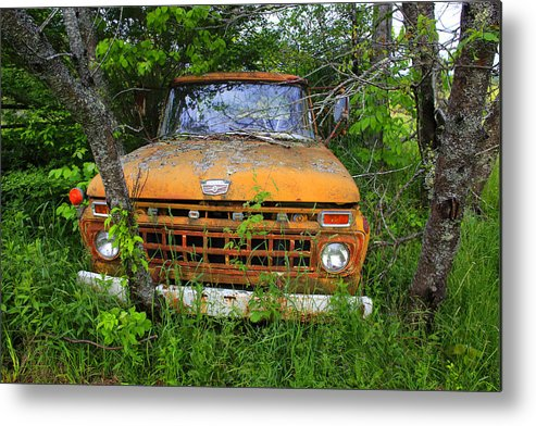 Antique Metal Print featuring the photograph Old Abandoned Ford Truck In The Forest by Gary Corbett