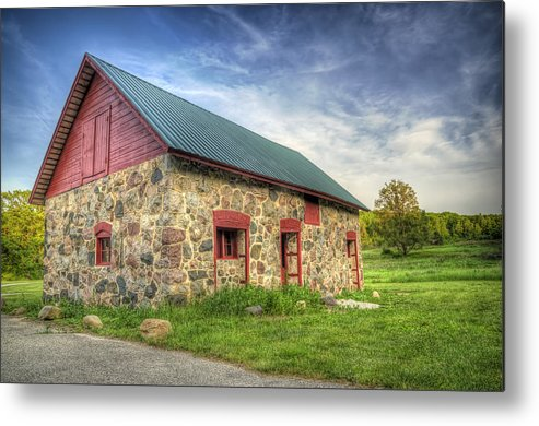 Barn Metal Print featuring the photograph Old Barn At Dusk by Scott Norris