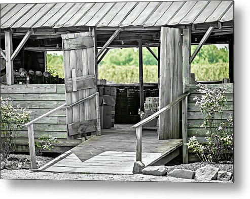 Barn Metal Print featuring the photograph Old Barn At The Farm On Sunny Day by Alex Grichenko
