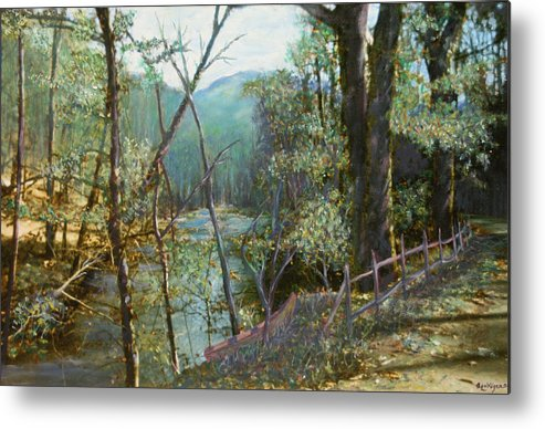 River; Trees; Landscape Metal Print featuring the painting Old Man River by Ben Kiger