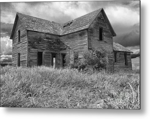 Hdr Metal Print featuring the photograph Old Montana Farmhouse by Sandra Bronstein